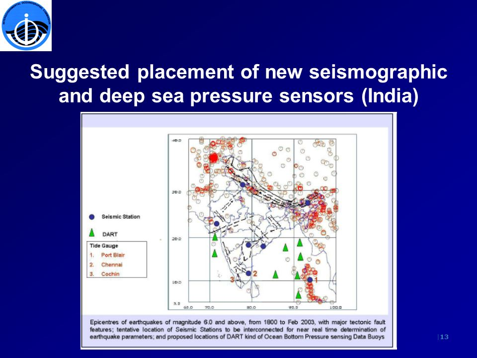|13 Suggested placement of new seismographic and deep sea pressure sensors (India)