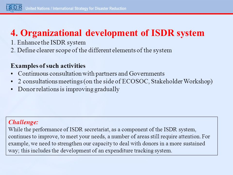 4. Organizational development of ISDR system 1. Enhance the ISDR system 2.
