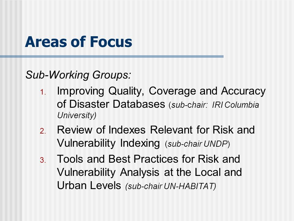 Areas of Focus Sub-Working Groups: 1.