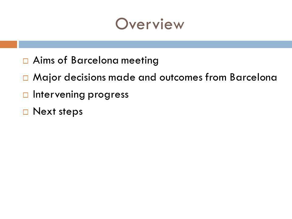 Overview Aims of Barcelona meeting Major decisions made and outcomes from Barcelona Intervening progress Next steps