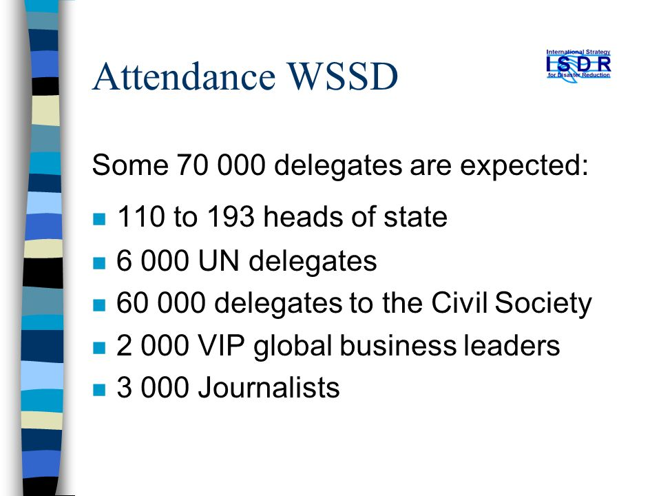Attendance WSSD Some 70 000 delegates are expected: n 110 to 193 heads of state n 6 000 UN delegates n 60 000 delegates to the Civil Society n 2 000 VIP global business leaders n 3 000 Journalists