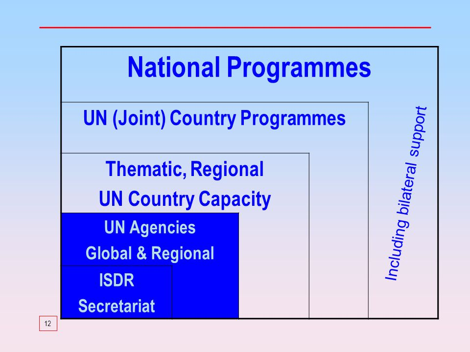 12 National Programmes UN (Joint) Country Programmes Thematic, Regional UN Country Capacity UN Agencies Global & Regional ISDR Secretariat Including bilateral support