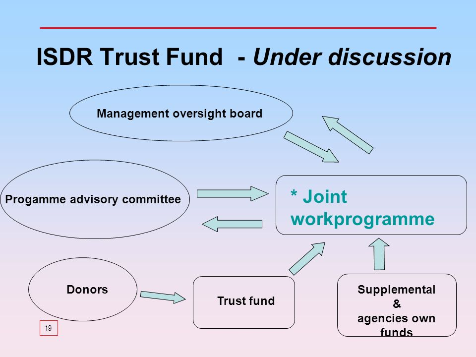 19 ISDR Trust Fund - Under discussion Progamme advisory committee Management oversight board Trust fund Donors * Joint workprogramme Supplemental & agencies own funds