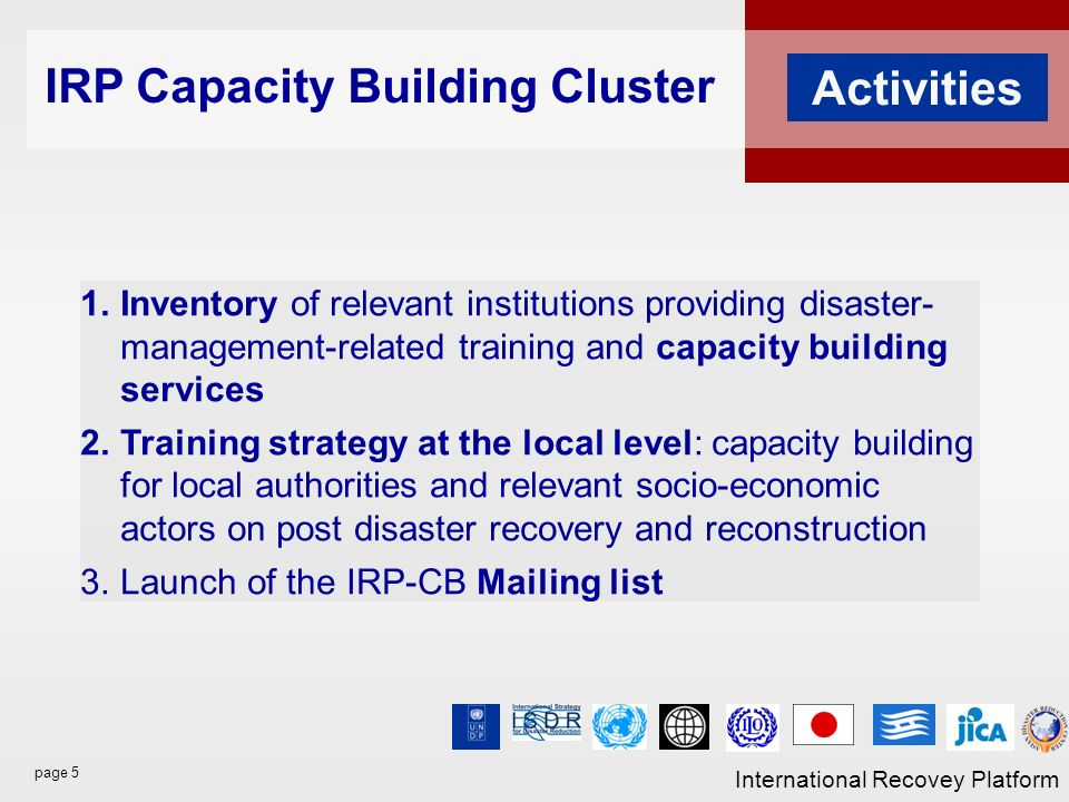 page 5 International Recovey Platform Activities 1.Inventory of relevant institutions providing disaster- management-related training and capacity building services 2.Training strategy at the local level: capacity building for local authorities and relevant socio-economic actors on post disaster recovery and reconstruction 3.Launch of the IRP-CB Mailing list IRP Capacity Building Cluster