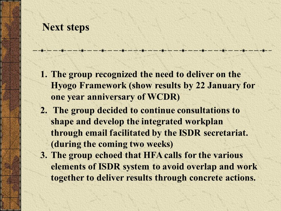 Next steps 1.The group recognized the need to deliver on the Hyogo Framework (show results by 22 January for one year anniversary of WCDR) 2.