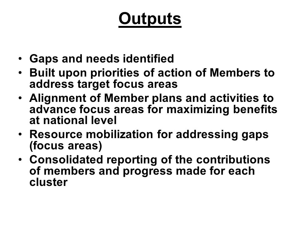 Outputs Gaps and needs identified Built upon priorities of action of Members to address target focus areas Alignment of Member plans and activities to advance focus areas for maximizing benefits at national level Resource mobilization for addressing gaps (focus areas) Consolidated reporting of the contributions of members and progress made for each cluster