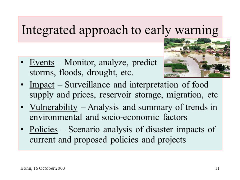 Bonn, 16 October 200311 Integrated approach to early warning Events – Monitor, analyze, predict storms, floods, drought, etc.