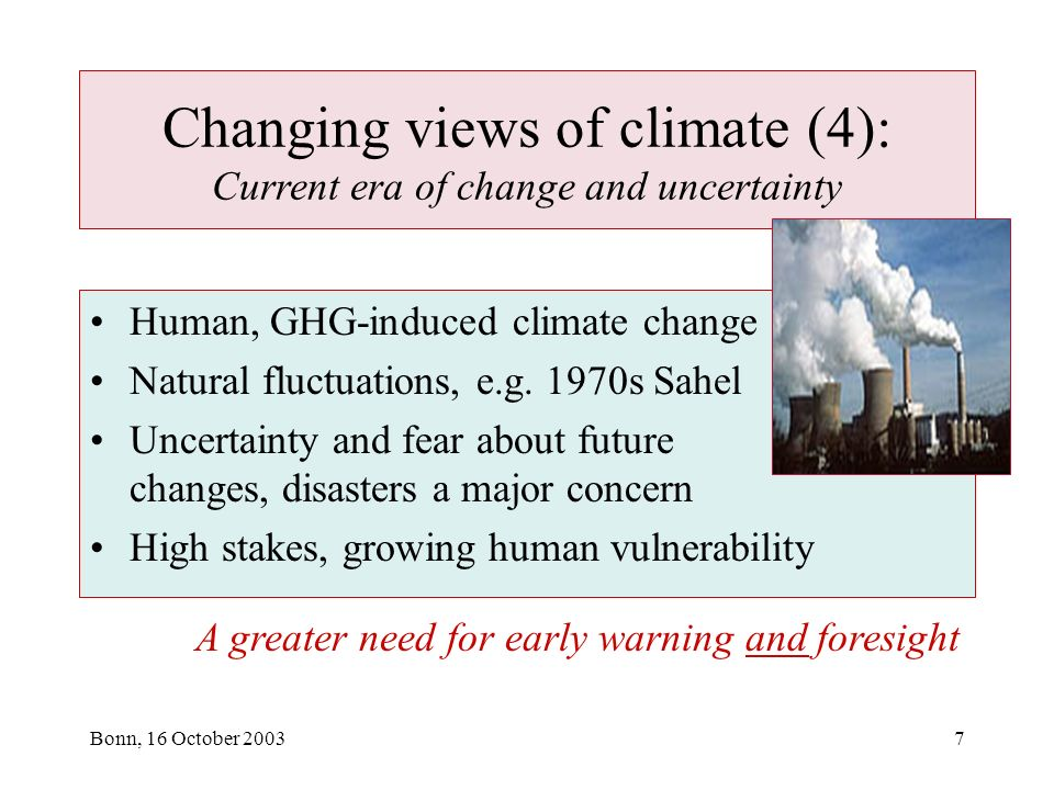 Bonn, 16 October 20037 Changing views of climate (4): Current era of change and uncertainty Human, GHG-induced climate change Natural fluctuations, e.g.