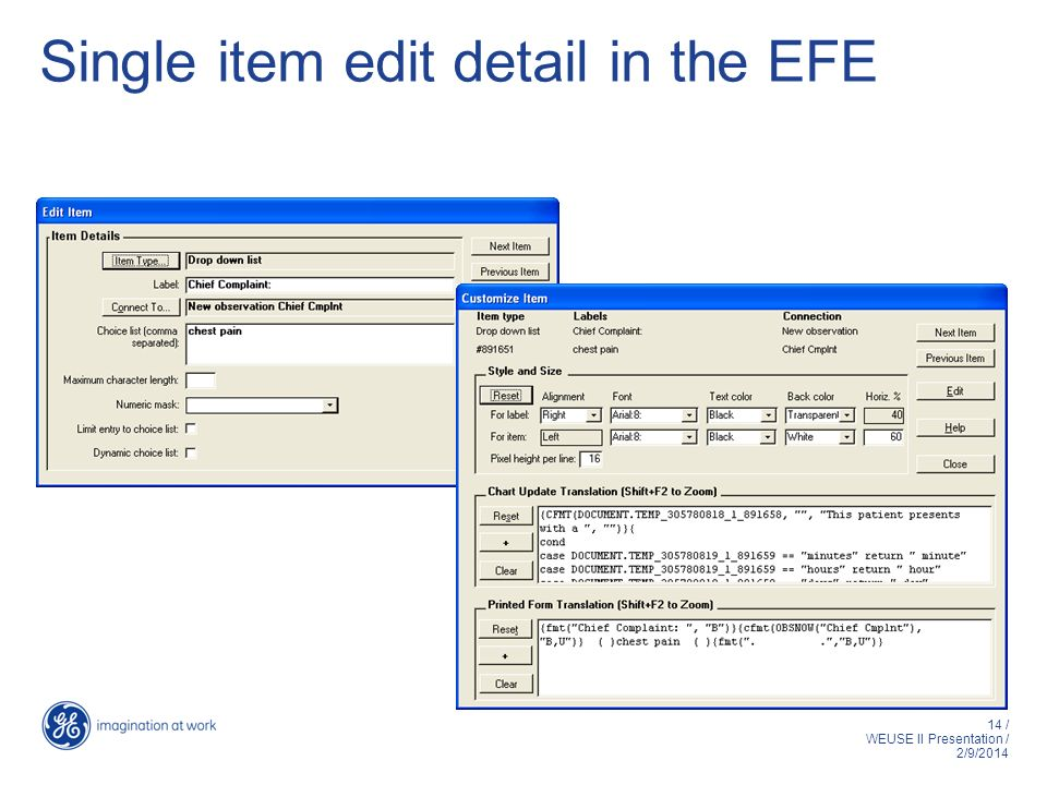 14 / WEUSE II Presentation / 2/9/2014 Single item edit detail in the EFE