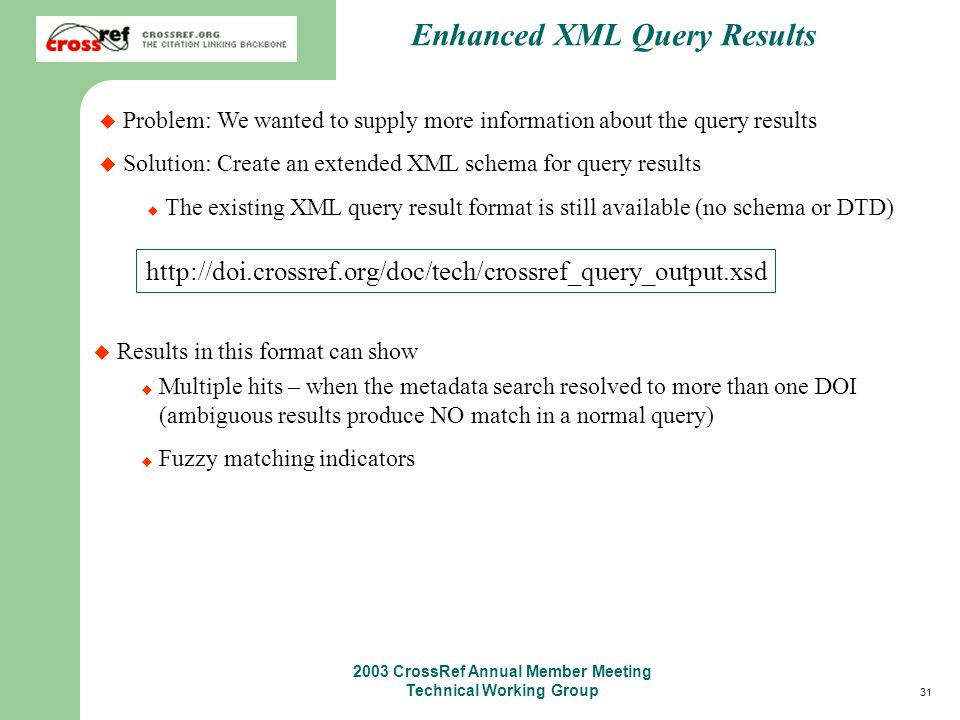 31 2003 CrossRef Annual Member Meeting Technical Working Group Enhanced XML Query Results Problem: We wanted to supply more information about the query results Solution: Create an extended XML schema for query results The existing XML query result format is still available (no schema or DTD) http://doi.crossref.org/doc/tech/crossref_query_output.xsd Results in this format can show Multiple hits – when the metadata search resolved to more than one DOI (ambiguous results produce NO match in a normal query) Fuzzy matching indicators
