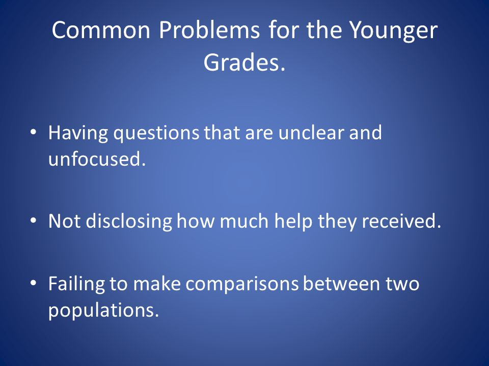 Common Problems for the Younger Grades. Having questions that are unclear and unfocused.