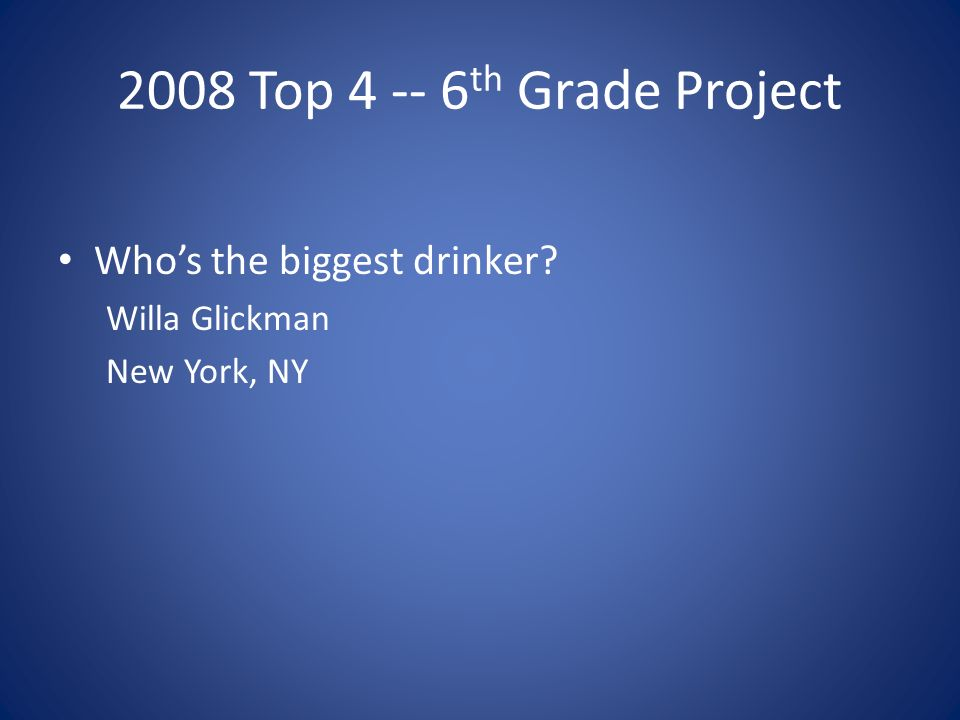 2008 Top 4 -- 6 th Grade Project Whos the biggest drinker Willa Glickman New York, NY