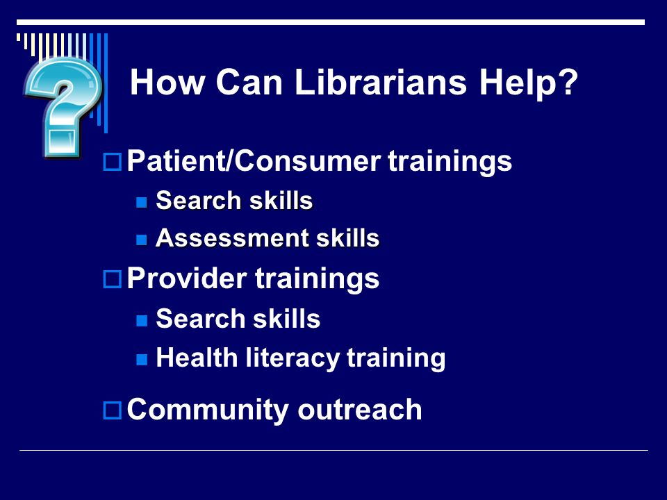 How Can Librarians Help.