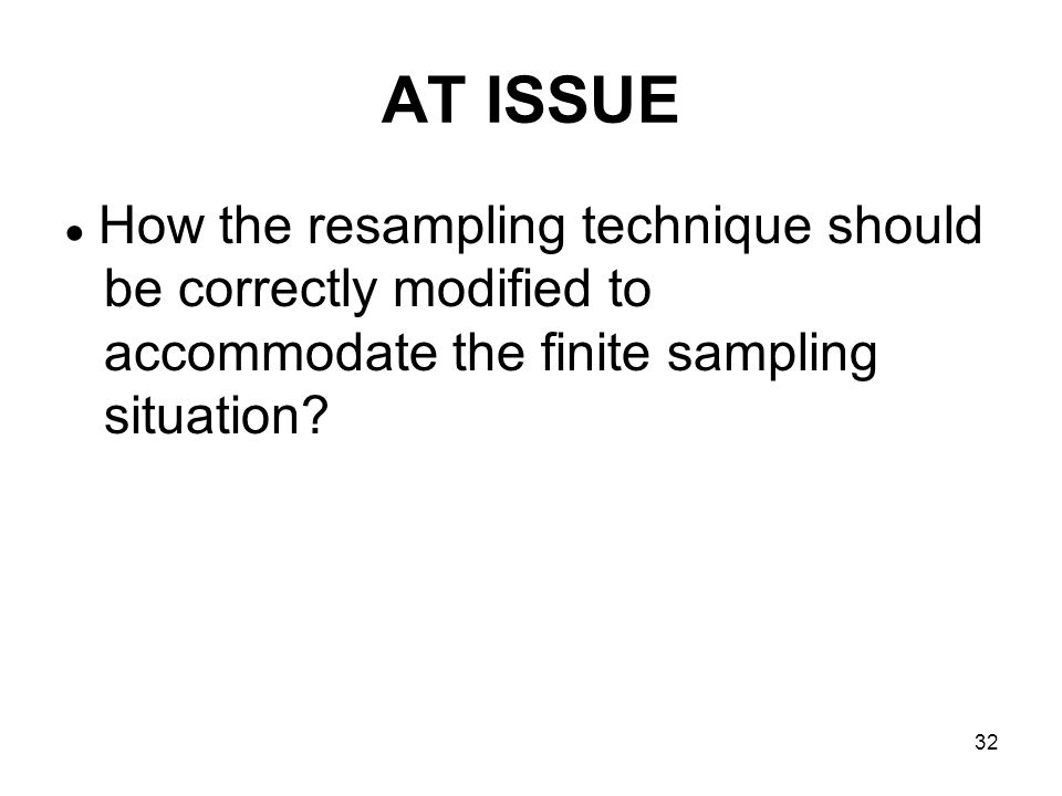 32 AT ISSUE How the resampling technique should be correctly modified to accommodate the finite sampling situation