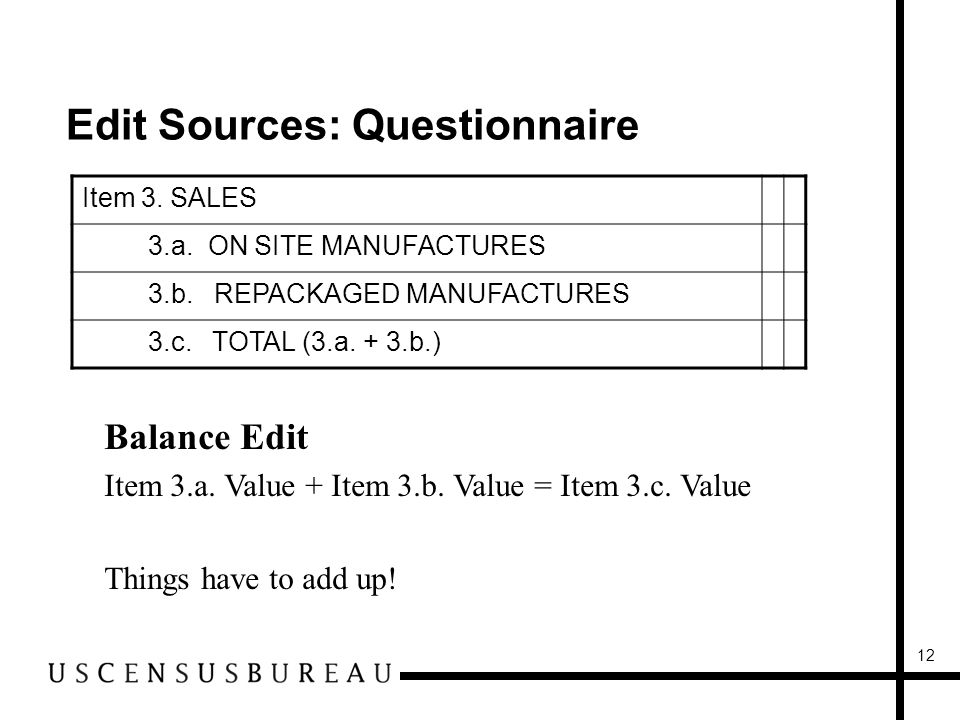 12 Edit Sources: Questionnaire Item 3. SALES 3.a.