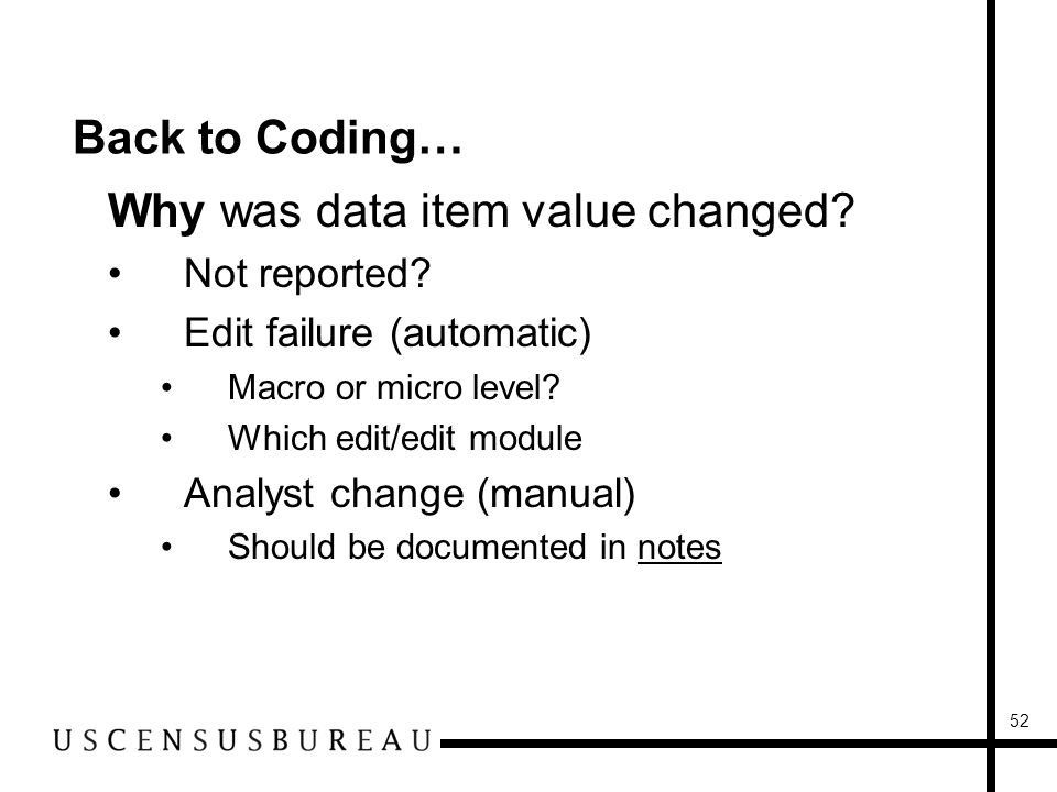 52 Back to Coding… Why was data item value changed.