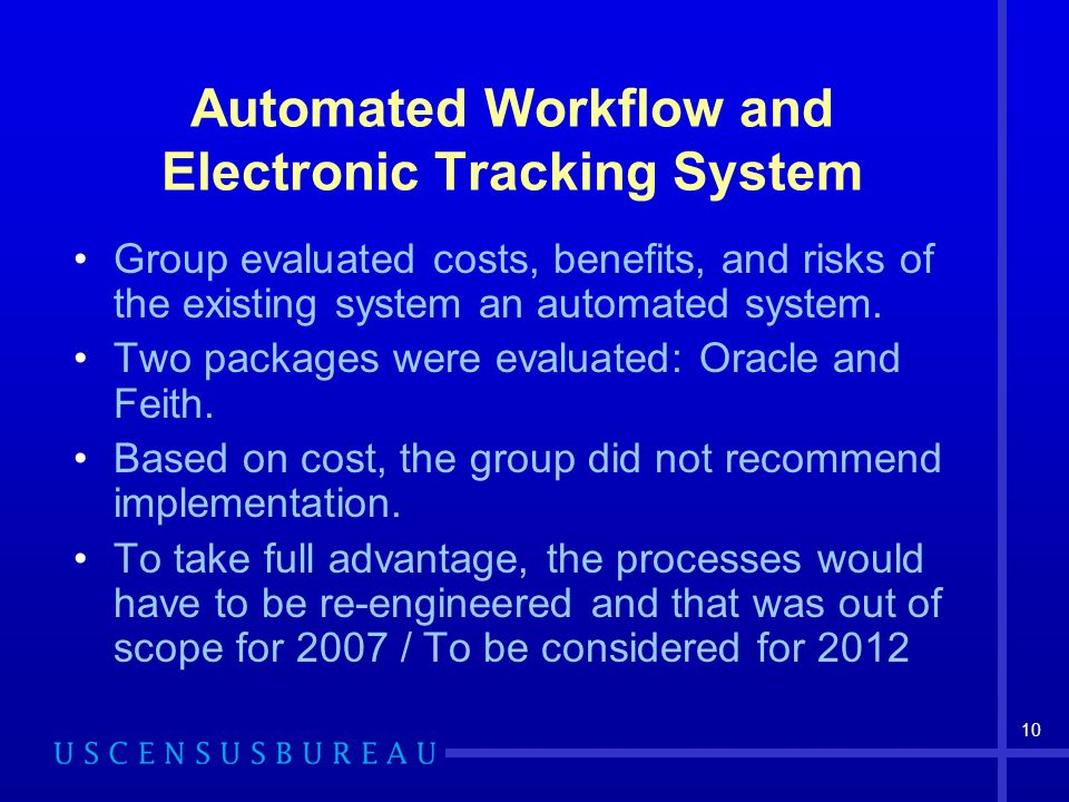 10 Automated Workflow and Electronic Tracking System Group evaluated costs, benefits, and risks of the existing system an automated system.