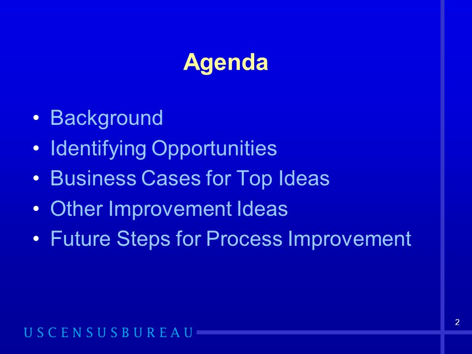 2 Agenda Background Identifying Opportunities Business Cases for Top Ideas Other Improvement Ideas Future Steps for Process Improvement