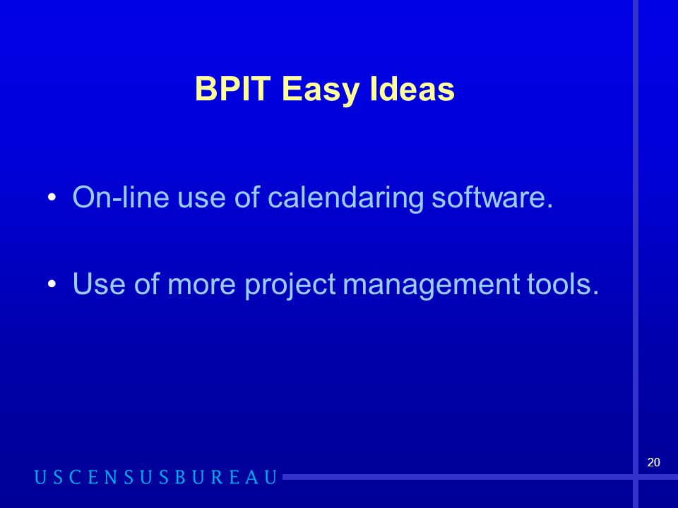 20 BPIT Easy Ideas On-line use of calendaring software. Use of more project management tools.
