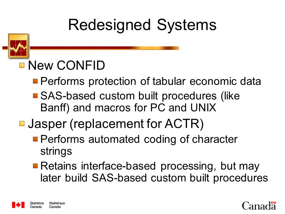 Redesigned Systems New CONFID Performs protection of tabular economic data SAS-based custom built procedures (like Banff) and macros for PC and UNIX Jasper (replacement for ACTR) Performs automated coding of character strings Retains interface-based processing, but may later build SAS-based custom built procedures