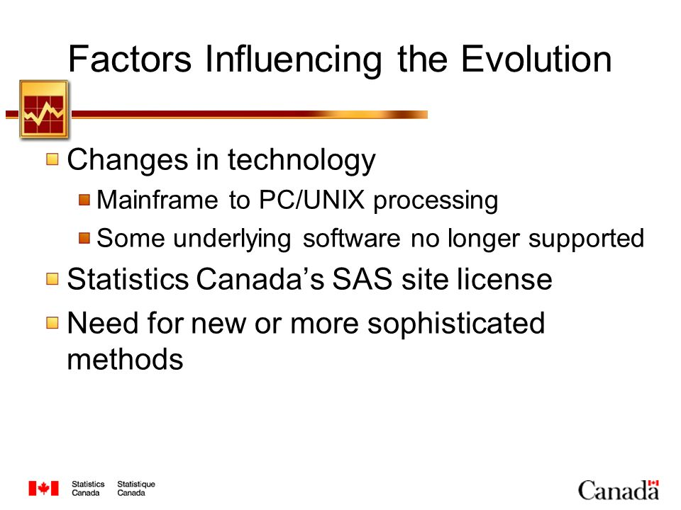 Factors Influencing the Evolution Changes in technology Mainframe to PC/UNIX processing Some underlying software no longer supported Statistics Canadas SAS site license Need for new or more sophisticated methods