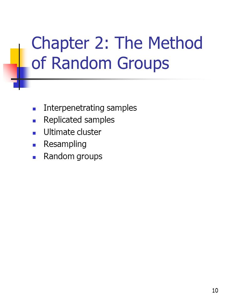 10 Chapter 2: The Method of Random Groups Interpenetrating samples Replicated samples Ultimate cluster Resampling Random groups