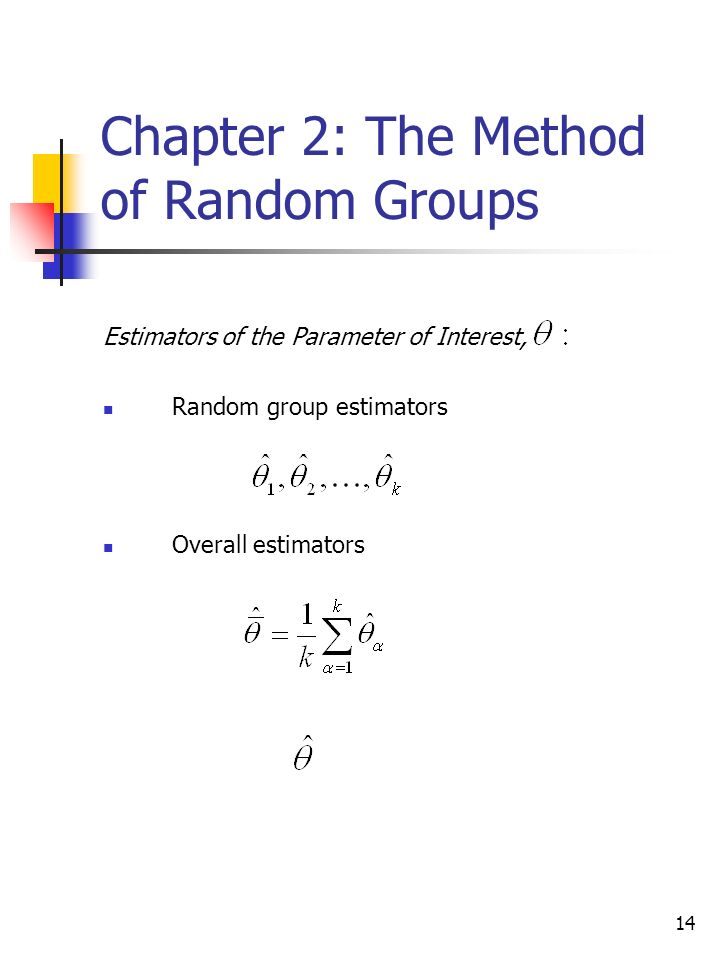 14 Chapter 2: The Method of Random Groups Estimators of the Parameter of Interest, Random group estimators Overall estimators
