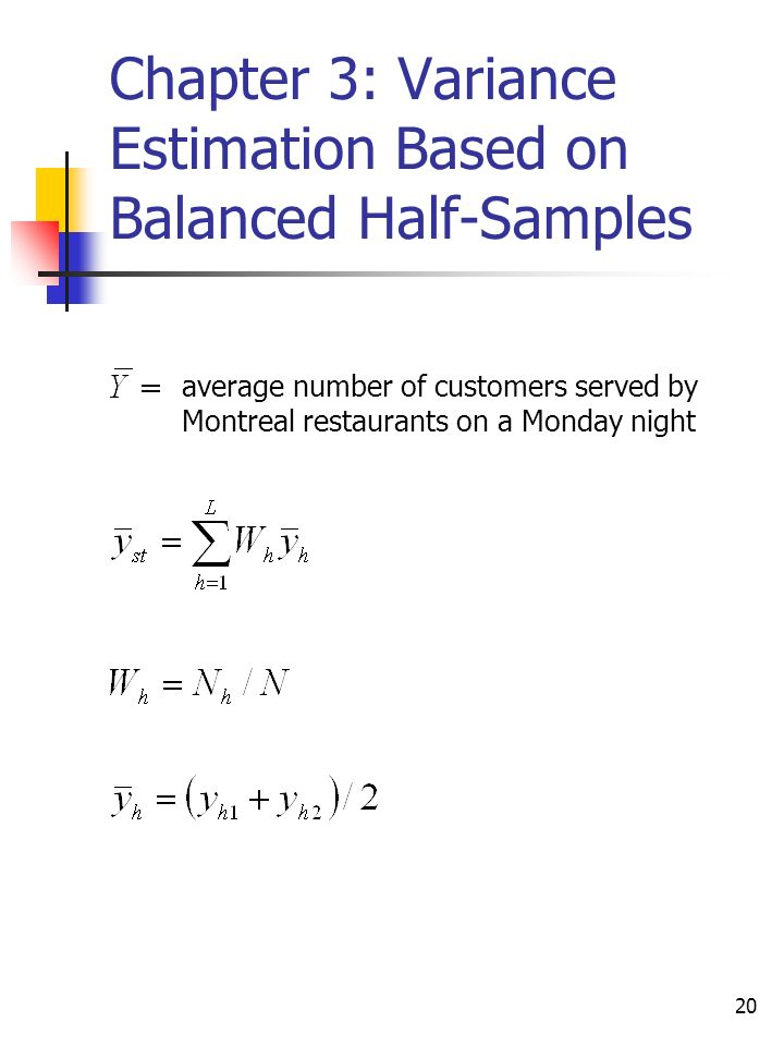 20 Chapter 3: Variance Estimation Based on Balanced Half-Samples average number of customers served by Montreal restaurants on a Monday night