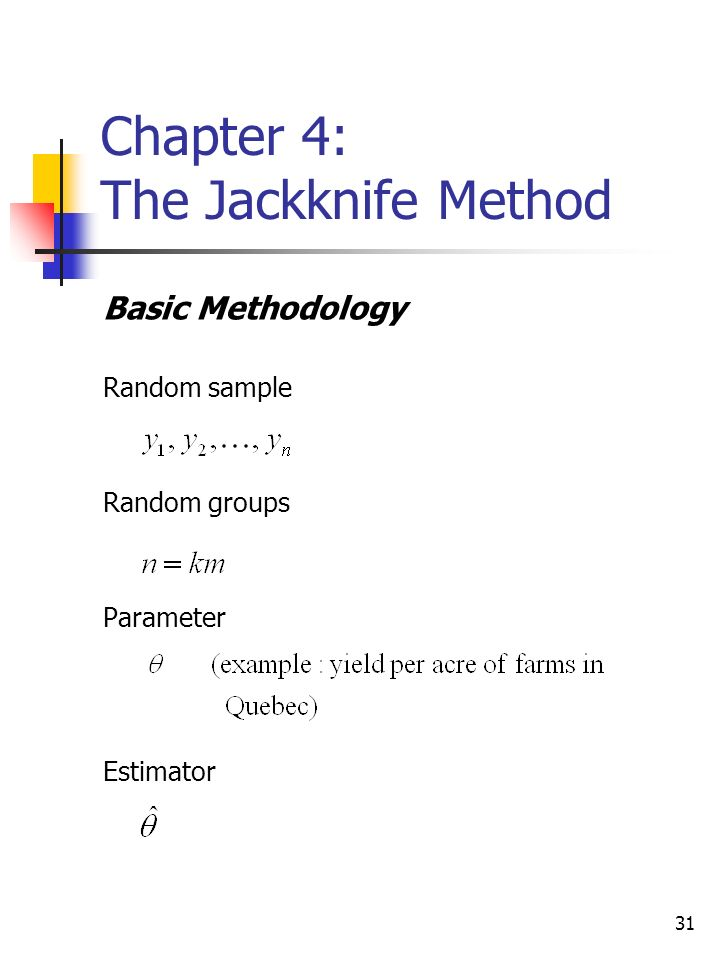 31 Chapter 4: The Jackknife Method Basic Methodology Random sample Random groups Parameter Estimator