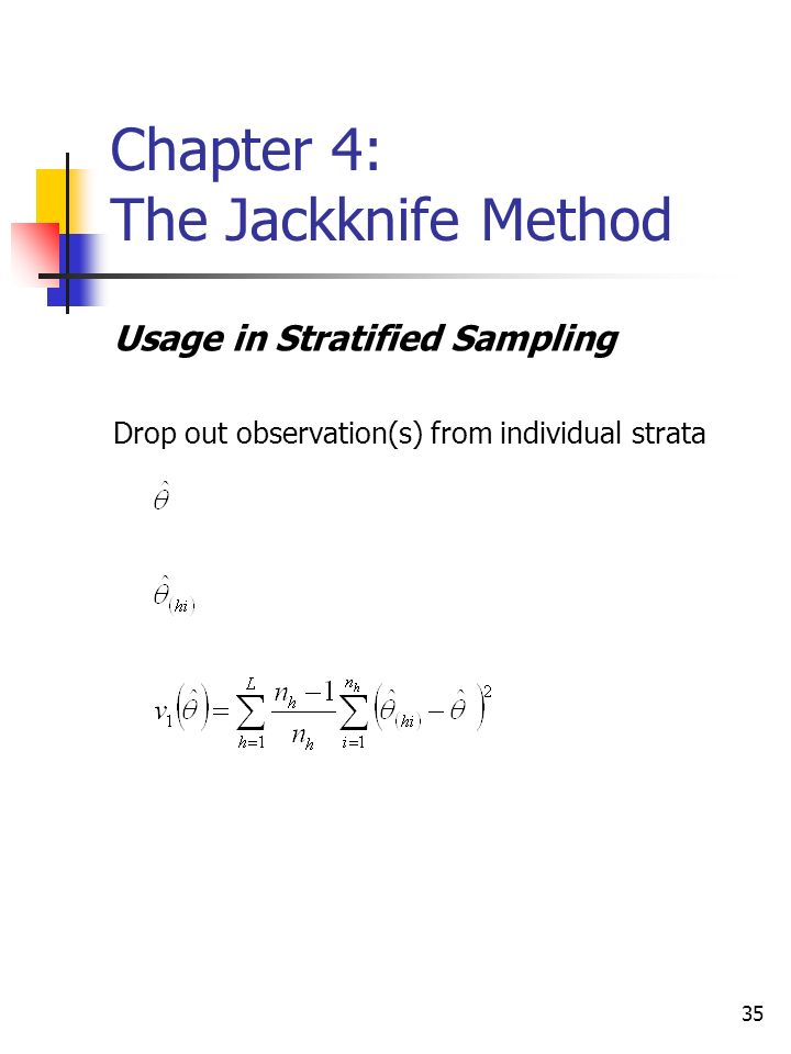 35 Chapter 4: The Jackknife Method Usage in Stratified Sampling Drop out observation(s) from individual strata