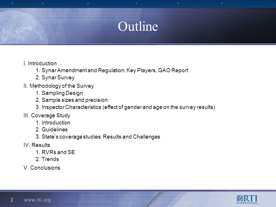 2 Outline I. Introduction 1. Synar Amendment and Regulation, Key Players, GAO Report 2.