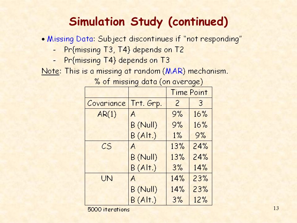13 Simulation Study (continued)