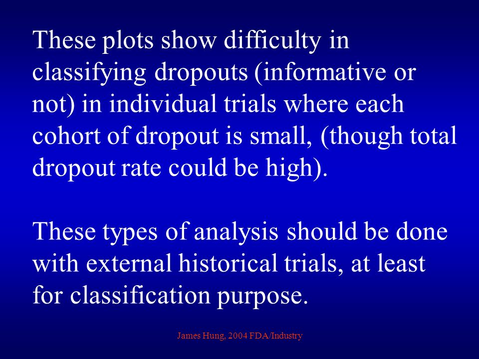 These plots show difficulty in classifying dropouts (informative or not) in individual trials where each cohort of dropout is small, (though total dropout rate could be high).