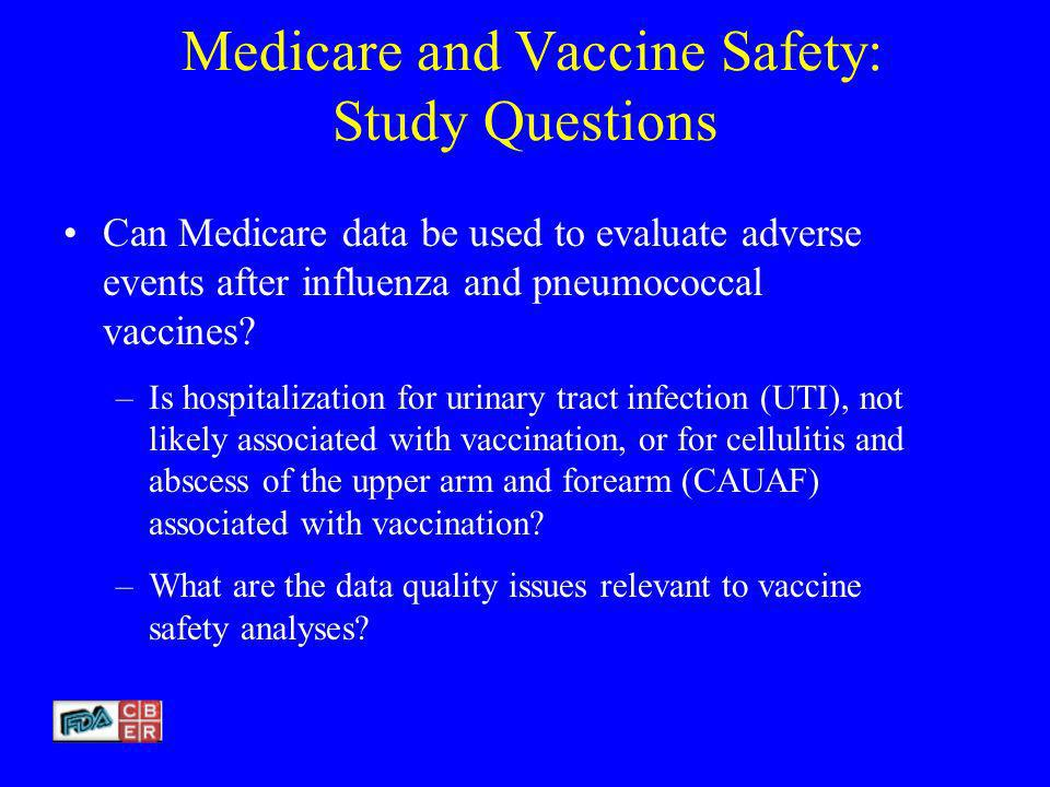 Medicare and Vaccine Safety: Study Questions Can Medicare data be used to evaluate adverse events after influenza and pneumococcal vaccines.