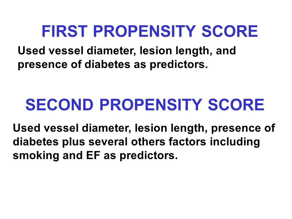 FIRST PROPENSITY SCORE Used vessel diameter, lesion length, and presence of diabetes as predictors.