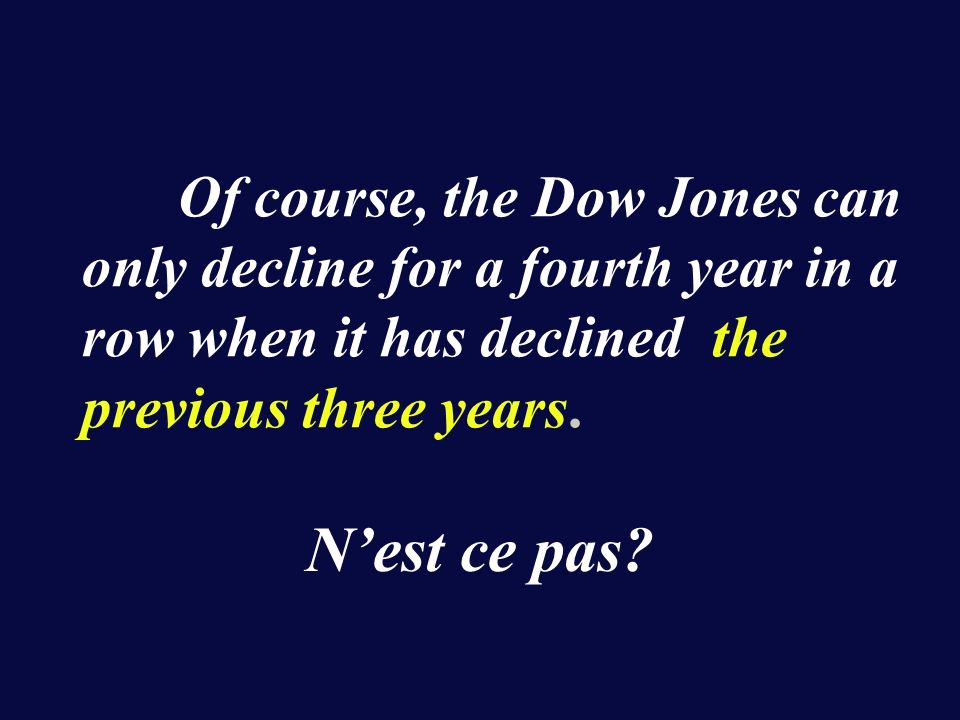 Of course, the Dow Jones can only decline for a fourth year in a row when it has declined the previous three years.