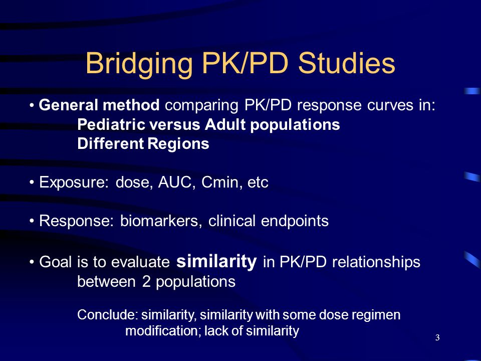 3 Bridging PK/PD Studies General method comparing PK/PD response curves in: Pediatric versus Adult populations Different Regions Exposure: dose, AUC, Cmin, etc Response: biomarkers, clinical endpoints Goal is to evaluate similarity in PK/PD relationships between 2 populations Conclude: similarity, similarity with some dose regimen modification; lack of similarity