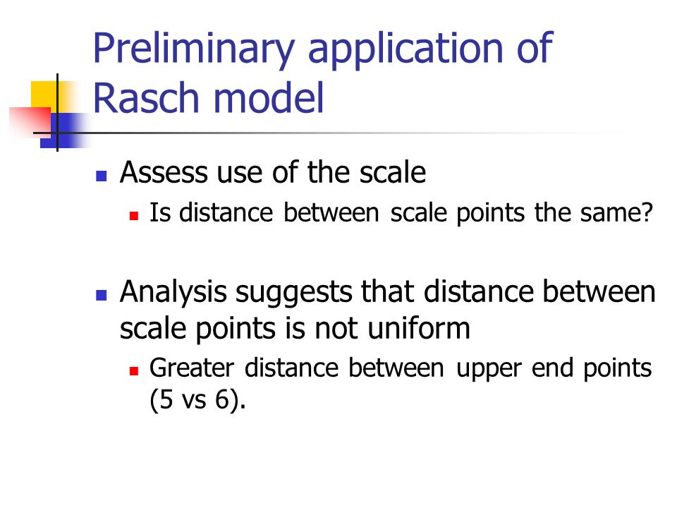 Preliminary application of Rasch model Assess use of the scale Is distance between scale points the same.