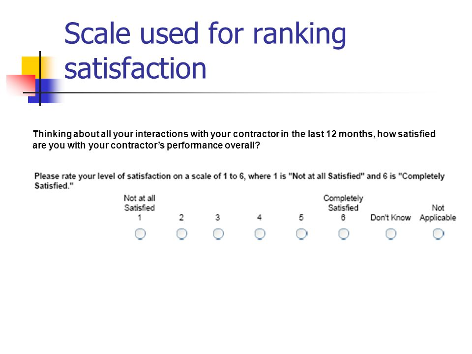 Scale used for ranking satisfaction Thinking about all your interactions with your contractor in the last 12 months, how satisfied are you with your contractors performance overall