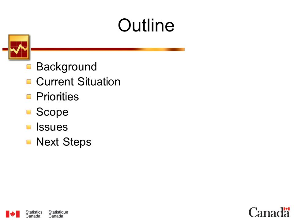 Outline Background Current Situation Priorities Scope Issues Next Steps