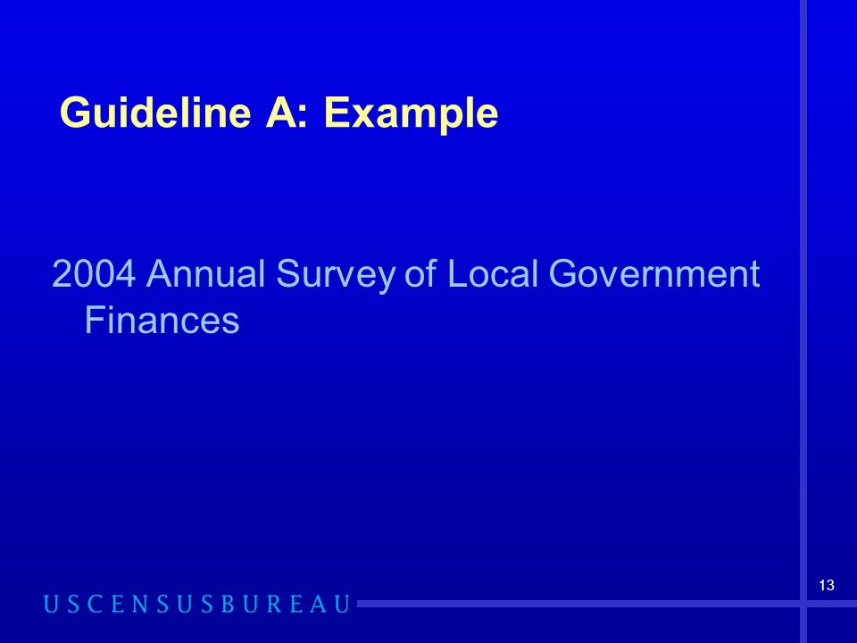 13 Guideline A: Example 2004 Annual Survey of Local Government Finances