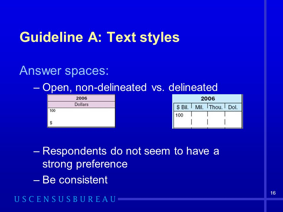 16 Guideline A: Text styles Answer spaces: –Open, non-delineated vs.
