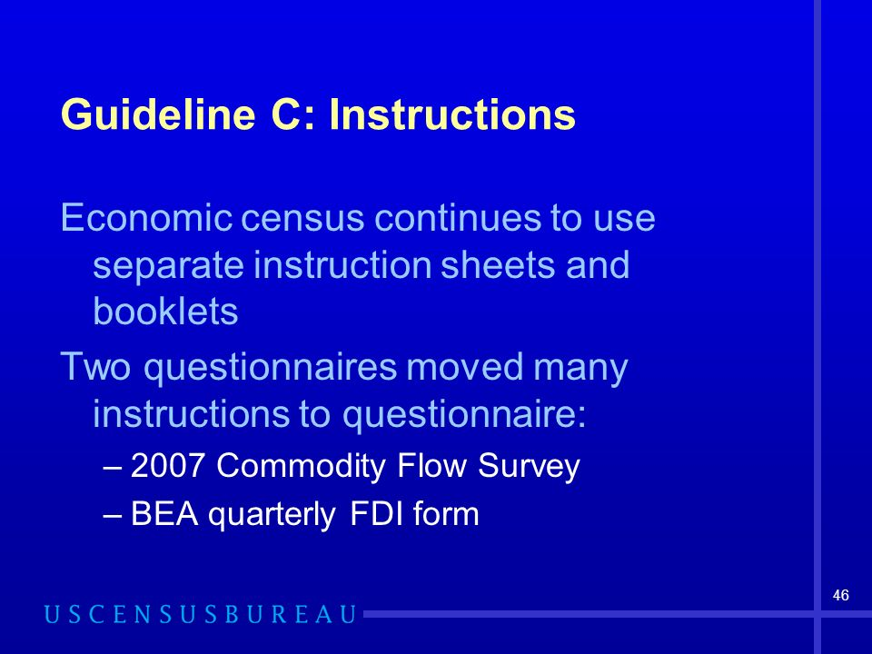 46 Guideline C: Instructions Economic census continues to use separate instruction sheets and booklets Two questionnaires moved many instructions to questionnaire: –2007 Commodity Flow Survey –BEA quarterly FDI form