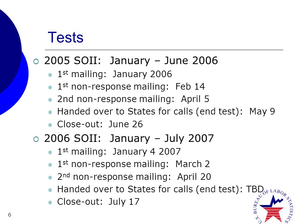 6 Tests 2005 SOII: January – June 2006 1 st mailing: January 2006 1 st non-response mailing: Feb 14 2nd non-response mailing: April 5 Handed over to States for calls (end test): May 9 Close-out: June 26 2006 SOII: January – July 2007 1 st mailing: January 4 2007 1 st non-response mailing: March 2 2 nd non-response mailing: April 20 Handed over to States for calls (end test): TBD Close-out: July 17