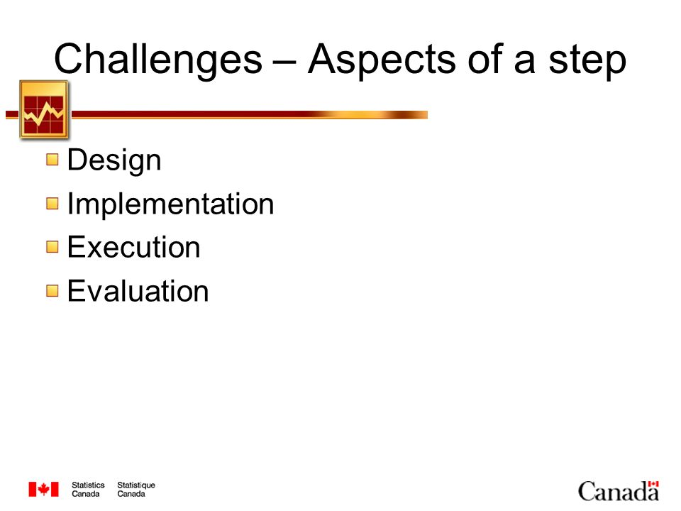Challenges – Aspects of a step Design Implementation Execution Evaluation