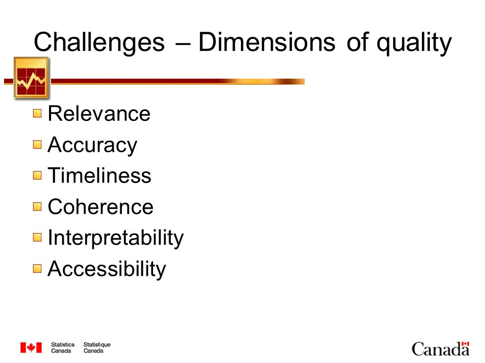 Challenges – Dimensions of quality Relevance Accuracy Timeliness Coherence Interpretability Accessibility