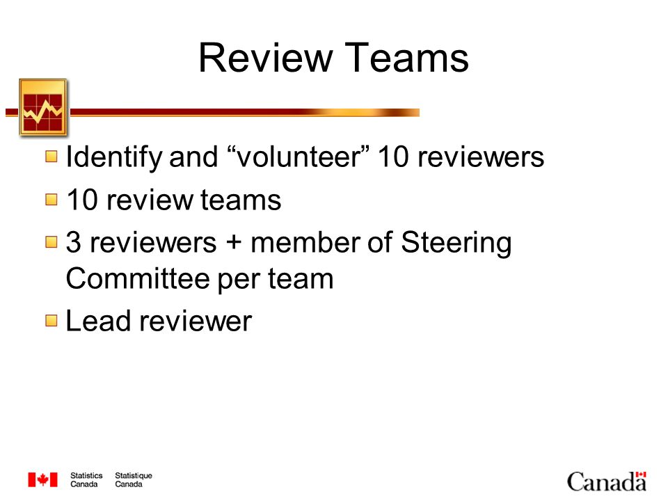 Review Teams Identify and volunteer 10 reviewers 10 review teams 3 reviewers + member of Steering Committee per team Lead reviewer