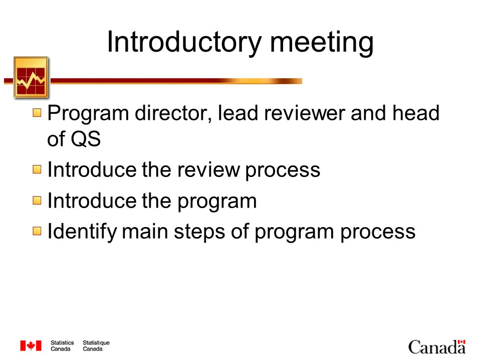 Introductory meeting Program director, lead reviewer and head of QS Introduce the review process Introduce the program Identify main steps of program process