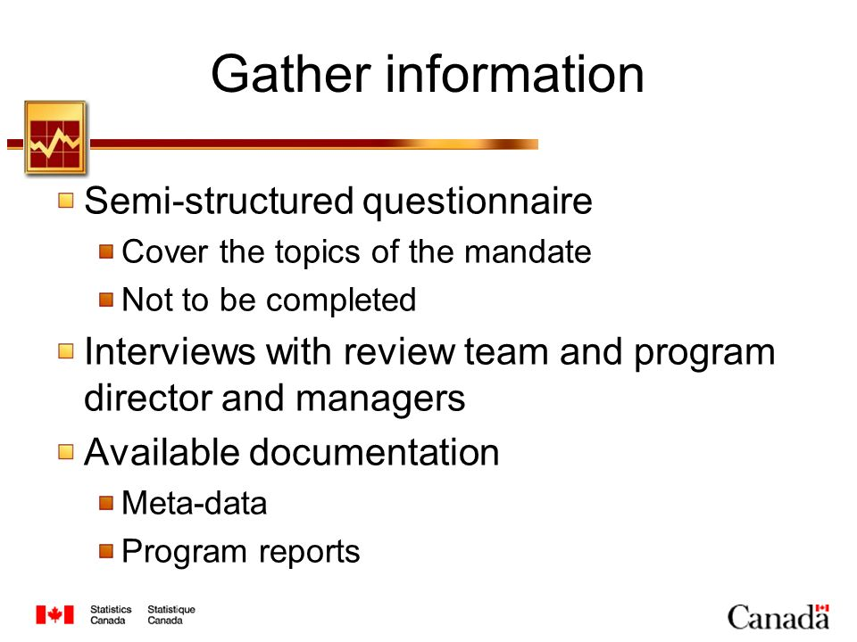 Gather information Semi-structured questionnaire Cover the topics of the mandate Not to be completed Interviews with review team and program director and managers Available documentation Meta-data Program reports
