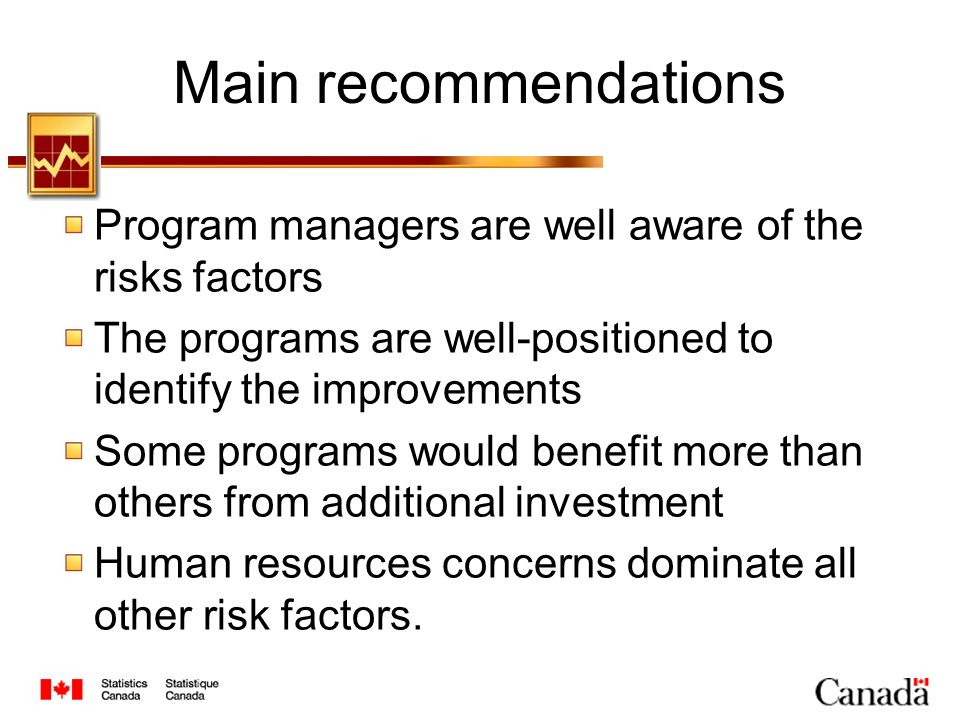 Main recommendations Program managers are well aware of the risks factors The programs are well-positioned to identify the improvements Some programs would benefit more than others from additional investment Human resources concerns dominate all other risk factors.